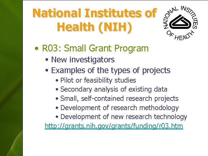 National Institutes of Health (NIH) • R 03: Small Grant Program § New investigators
