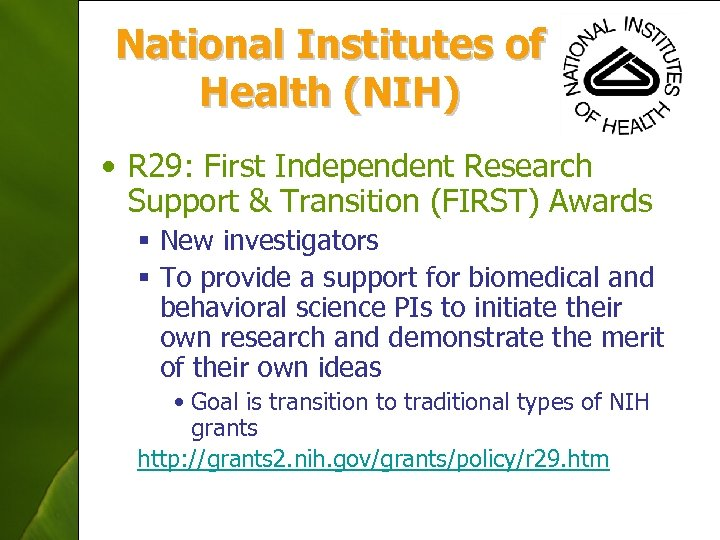 National Institutes of Health (NIH) • R 29: First Independent Research Support & Transition