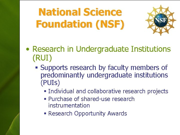 National Science Foundation (NSF) • Research in Undergraduate Institutions (RUI) § Supports research by