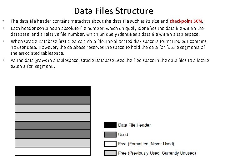 Data Files Structure • • The data file header contains metadata about the data