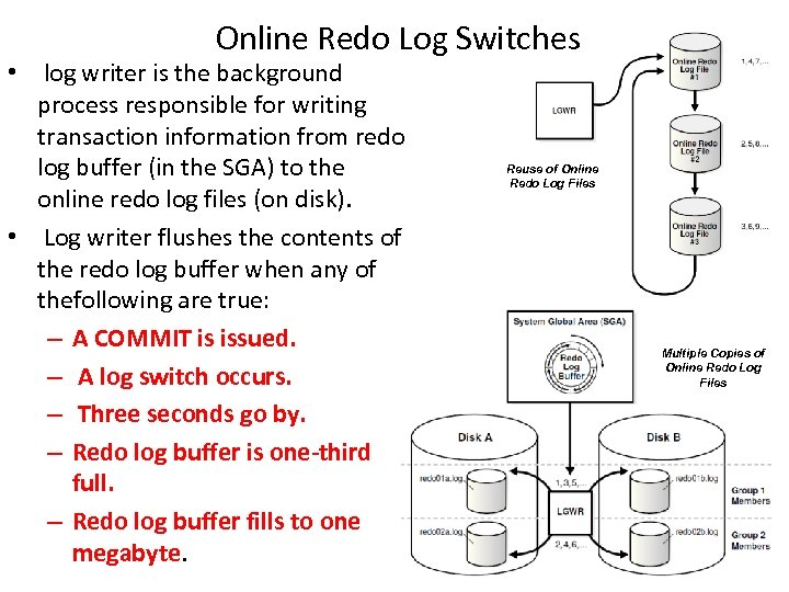 Online Redo Log Switches • log writer is the background process responsible for