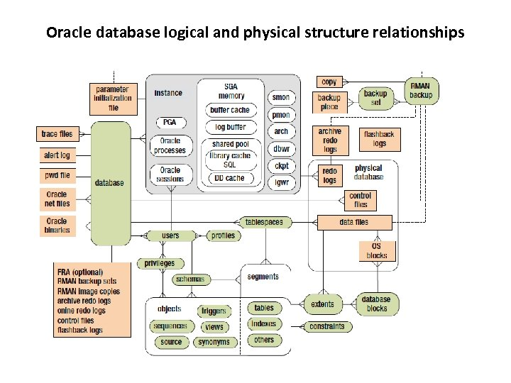 Oracle database logical and physical structure relationships