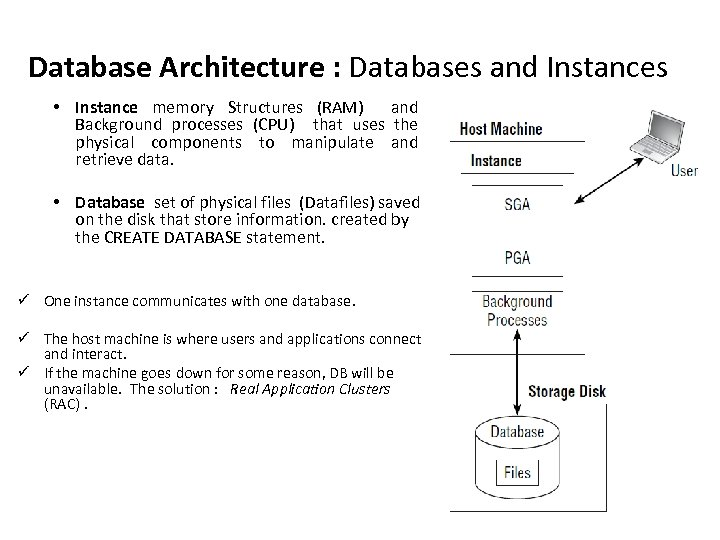 Database Architecture : Databases and Instances • Instance memory Structures (RAM) and Background processes
