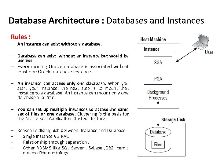 Database Architecture : Databases and Instances Rules : – An instance can exist without