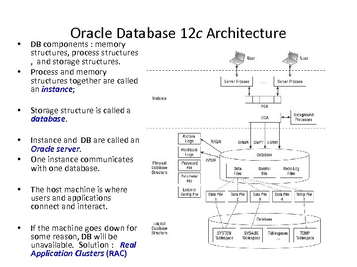 • • Oracle Database 12 c Architecture DB components : memory structures, process