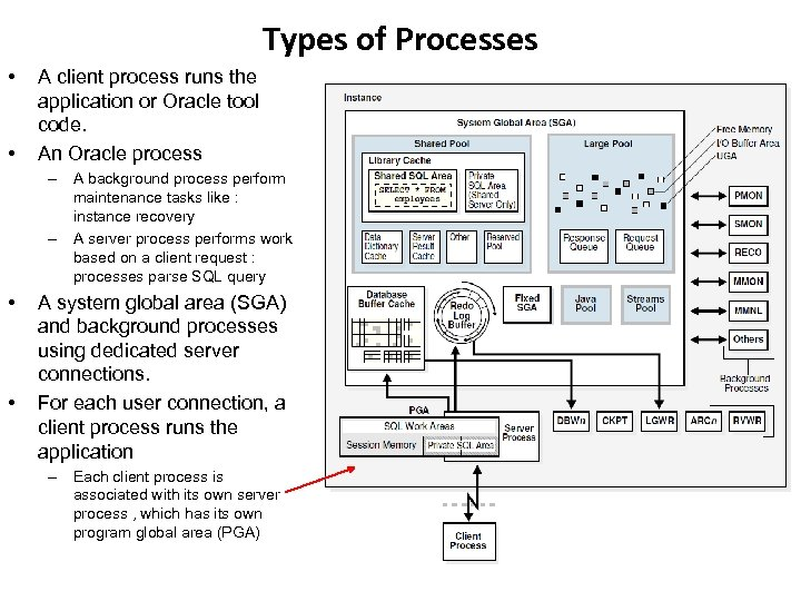 Types of Processes • • A client process runs the application or Oracle tool