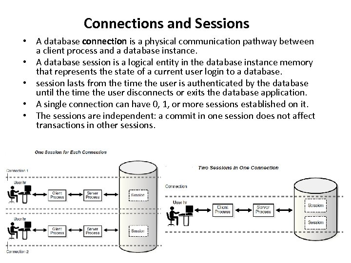 Connections and Sessions • A database connection is a physical communication pathway between a