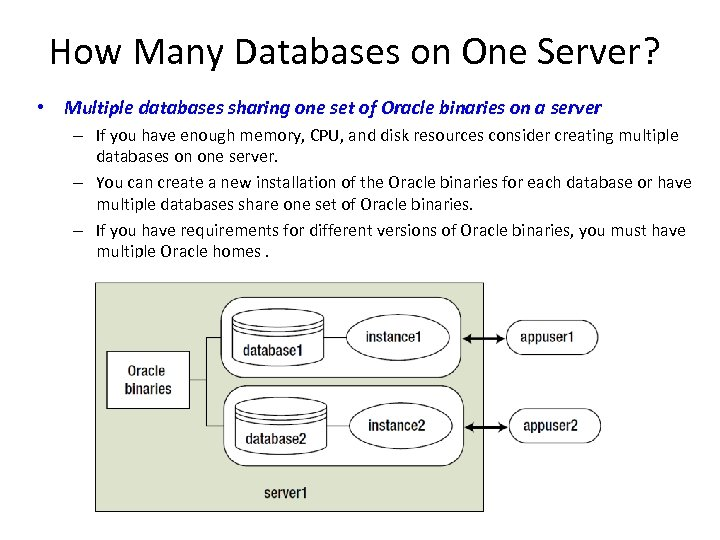 How Many Databases on One Server? • Multiple databases sharing one set of Oracle