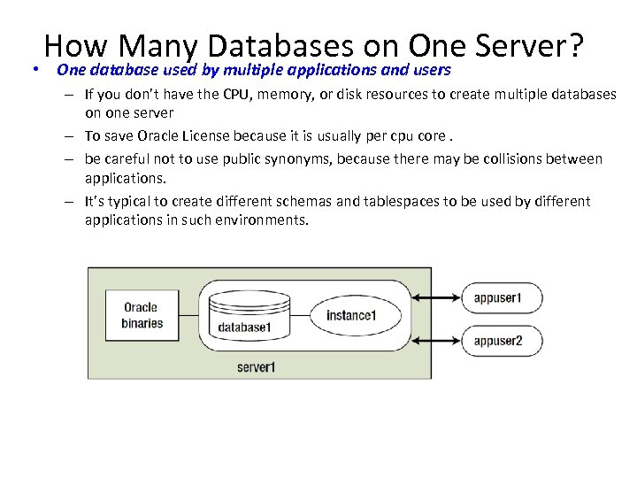 How Many Databases on One Server? • One database used by multiple applications and