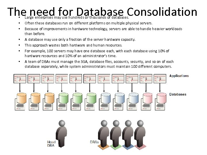 The need for Database Consolidation • • Large enterprises may use hundreds or thousands