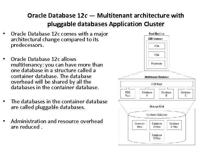 Oracle Database 12 c — Multitenant architecture with pluggable databases Application Cluster • Oracle