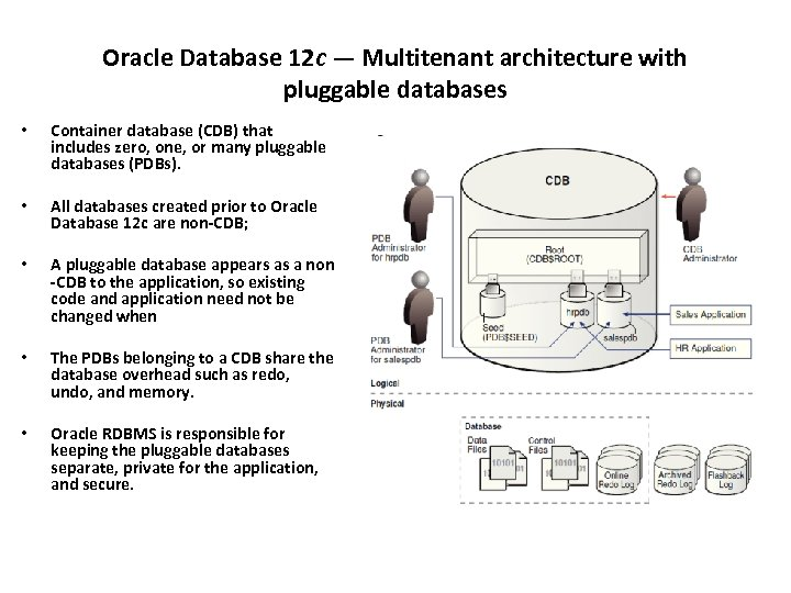 Oracle Database 12 c — Multitenant architecture with pluggable databases • Container database (CDB)