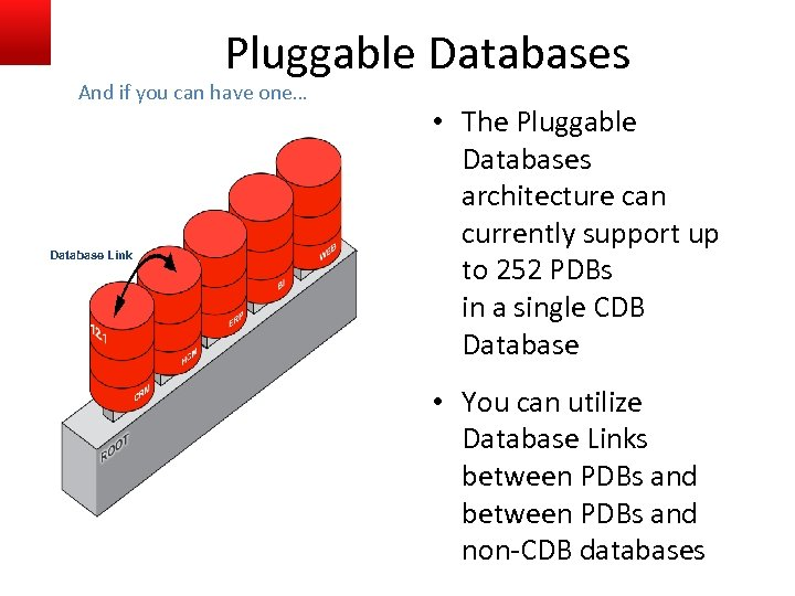Pluggable Databases And if you can have one… Database Link • The Pluggable Databases