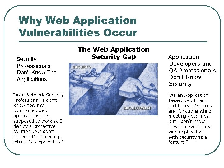 """Why Web Application Vulnerabilities Occur Security Professionals Don't Know The Applications """"As a Network"""