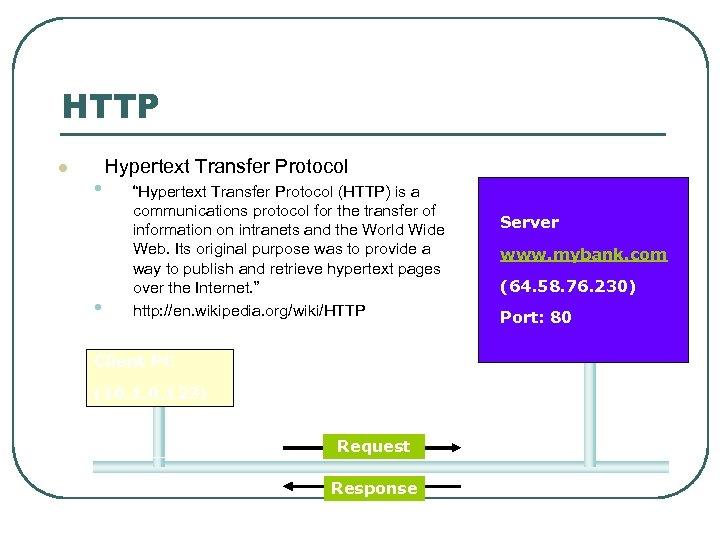 "HTTP l • • Hypertext Transfer Protocol ""Hypertext Transfer Protocol (HTTP) is a communications"