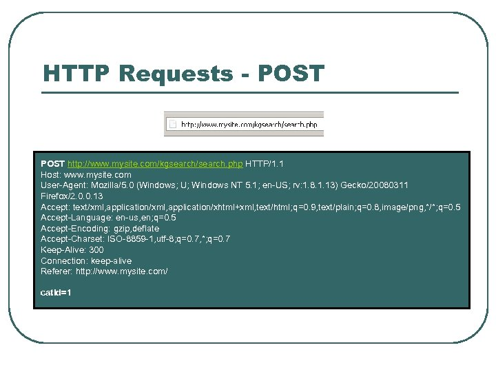 HTTP Requests - POST http: //www. mysite. com/kgsearch/search. php HTTP/1. 1 Host: www. mysite.