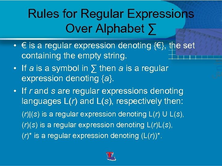 Rules for Regular Expressions Over Alphabet ∑ • € is a regular expression denoting