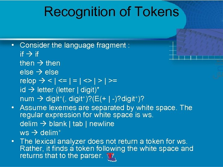 Recognition of Tokens • Consider the language fragment : if then else relop <