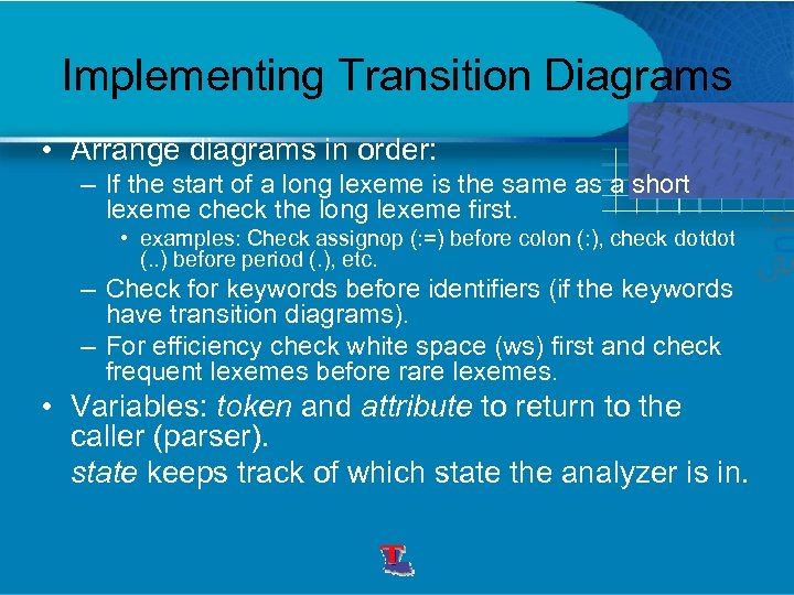 Implementing Transition Diagrams • Arrange diagrams in order: – If the start of a