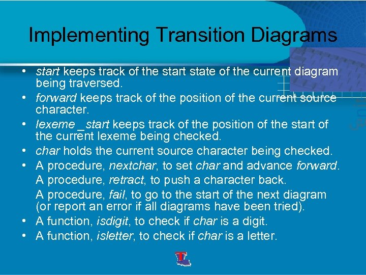 Implementing Transition Diagrams • start keeps track of the start state of the current