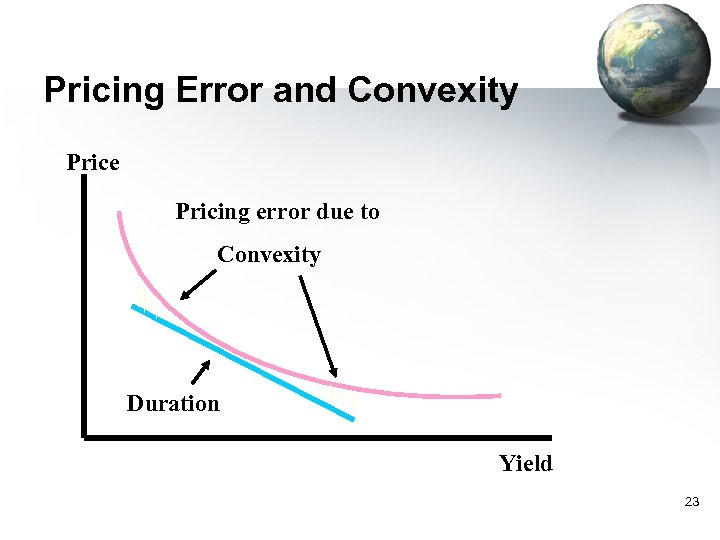 Pricing Error and Convexity Price Pricing error due to Convexity Duration Yield 23