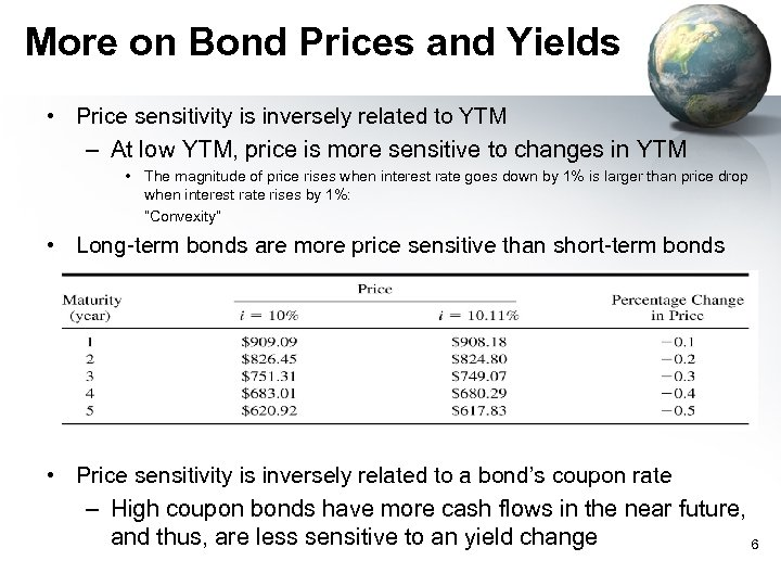 More on Bond Prices and Yields • Price sensitivity is inversely related to YTM