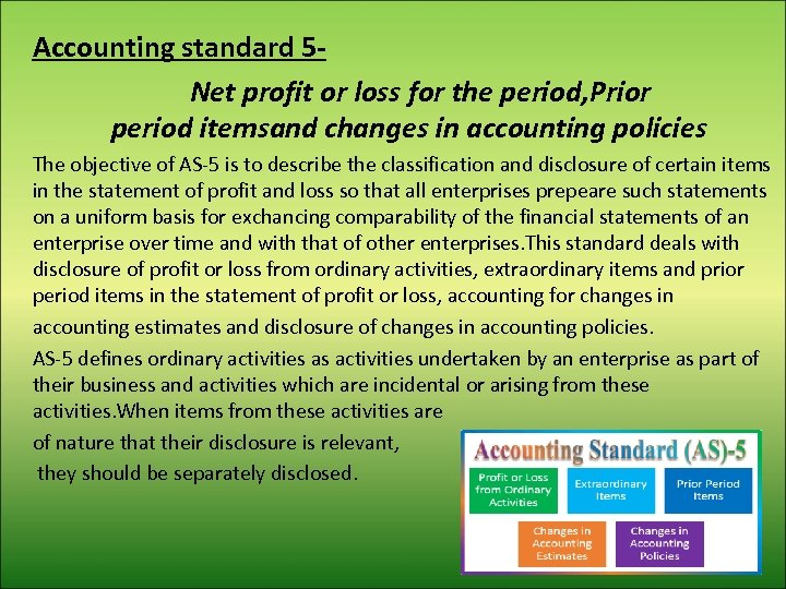 Accounting standard 5 Net profit or loss for the period, Prior period itemsand changes