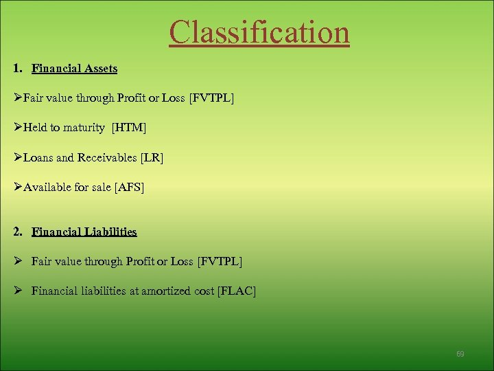 Classification 1. Financial Assets ØFair value through Profit or Loss [FVTPL] ØHeld to maturity