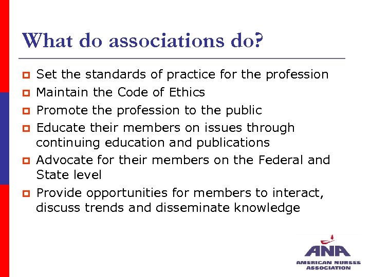What do associations do? p p p Set the standards of practice for the
