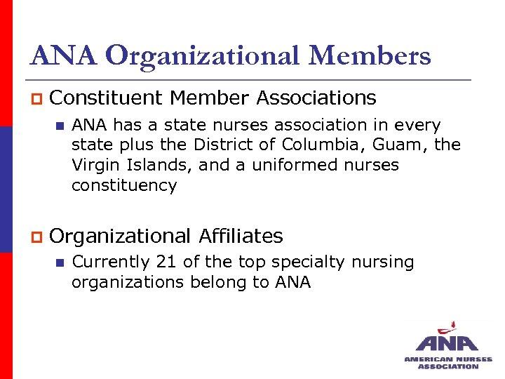 ANA Organizational Members p Constituent Member Associations n p ANA has a state nurses
