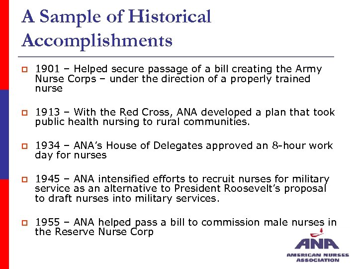 A Sample of Historical Accomplishments p 1901 – Helped secure passage of a bill