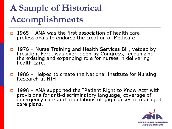 A Sample of Historical Accomplishments p 1965 – ANA was the first association of