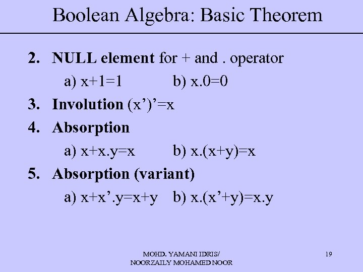 Boolean Algebra: Basic Theorem 2. NULL element for + and. operator a) x+1=1 b)