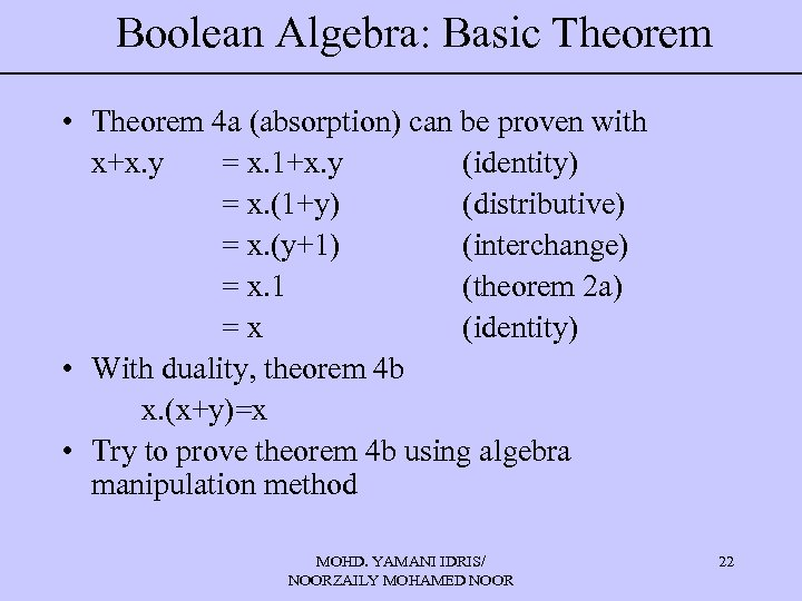 Boolean Algebra: Basic Theorem • Theorem 4 a (absorption) can be proven with x+x.