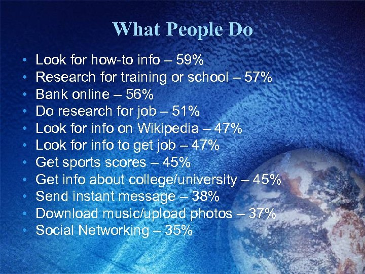What People Do • • • Look for how-to info – 59% Research for