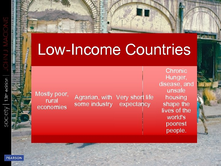 Low-Income Countries Chronic Hunger, disease, and unsafe Mostly poor, Agrarian, with Very short life