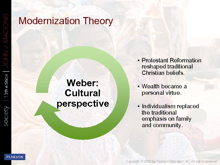 Modernization Theory • Protestant Reformation reshaped traditional Christian beliefs. Weber: Cultural perspective • Wealth