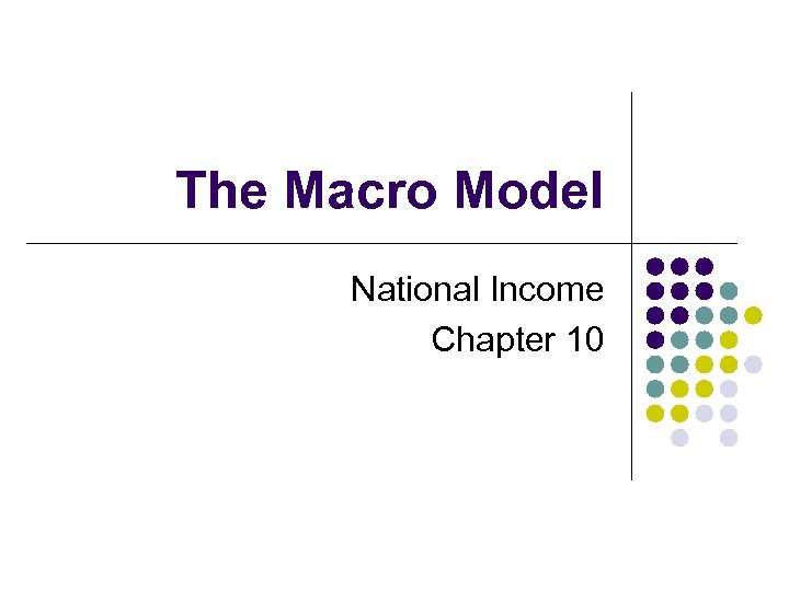 The Macro Model National Income Chapter 10