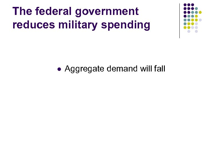 The federal government reduces military spending l Aggregate demand will fall