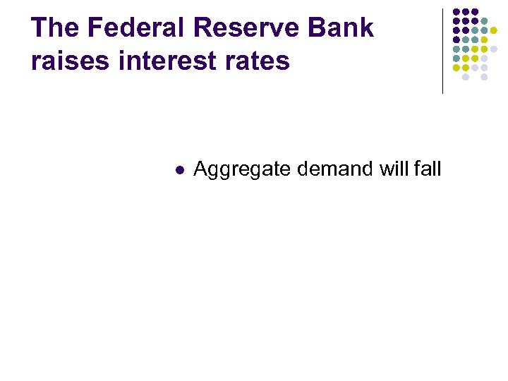 The Federal Reserve Bank raises interest rates l Aggregate demand will fall