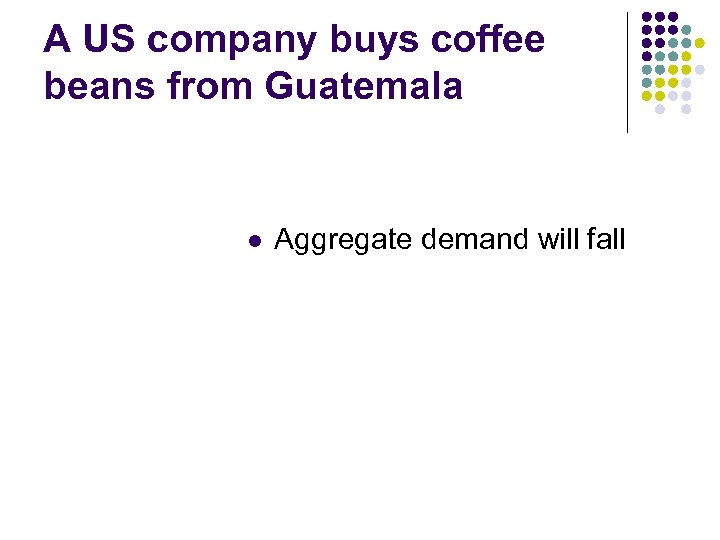 A US company buys coffee beans from Guatemala l Aggregate demand will fall