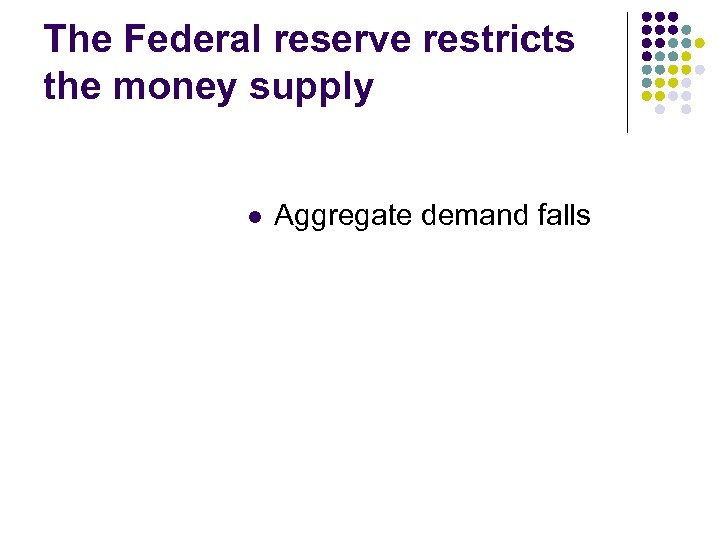The Federal reserve restricts the money supply l Aggregate demand falls