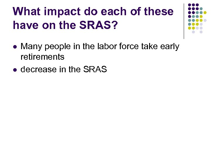 What impact do each of these have on the SRAS? l l Many people