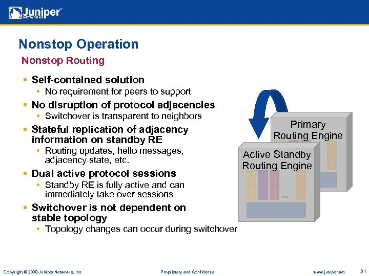 Nonstop Operation Nonstop Routing § Self-contained solution • No requirement for peers to support
