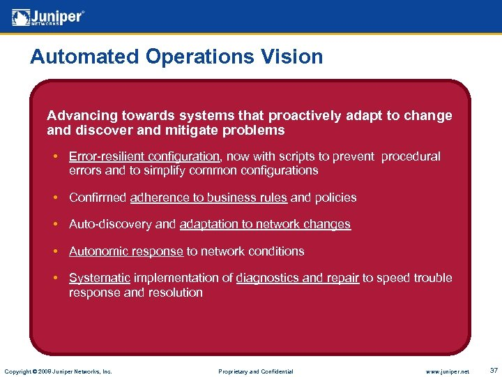 Automated Operations Vision Advancing towards systems that proactively adapt to change and discover and