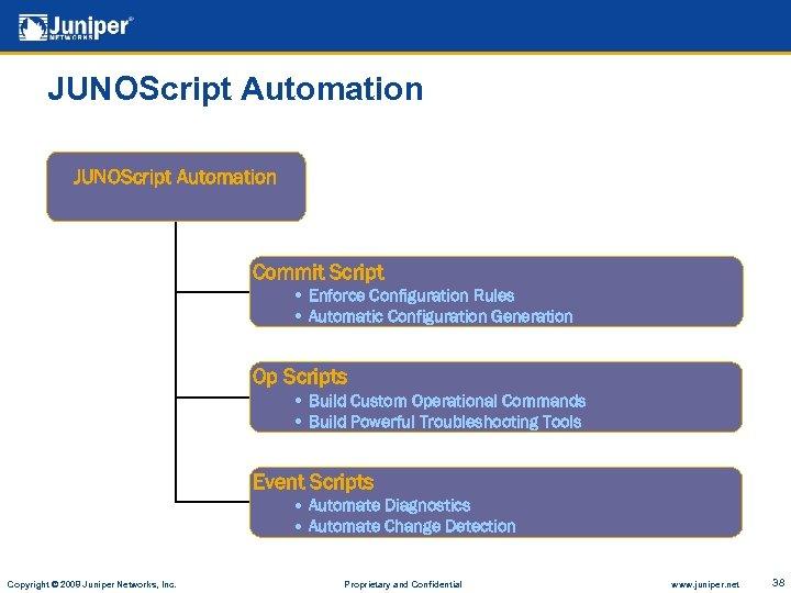 JUNOScript Automation Commit Script • Enforce Configuration Rules • Automatic Configuration Generation Op Scripts