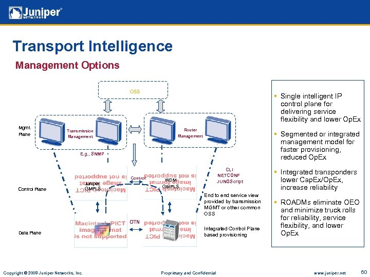 Transport Intelligence Management Options OSS Mgmt. Plane § Single intelligent IP control plane for