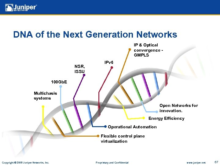 DNA of the Next Generation Networks IP & Optical convergence GMPLS NSR, ISSU IPv