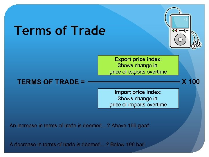 Terms of Trade Export price index: Shows change in price of exports overtime X