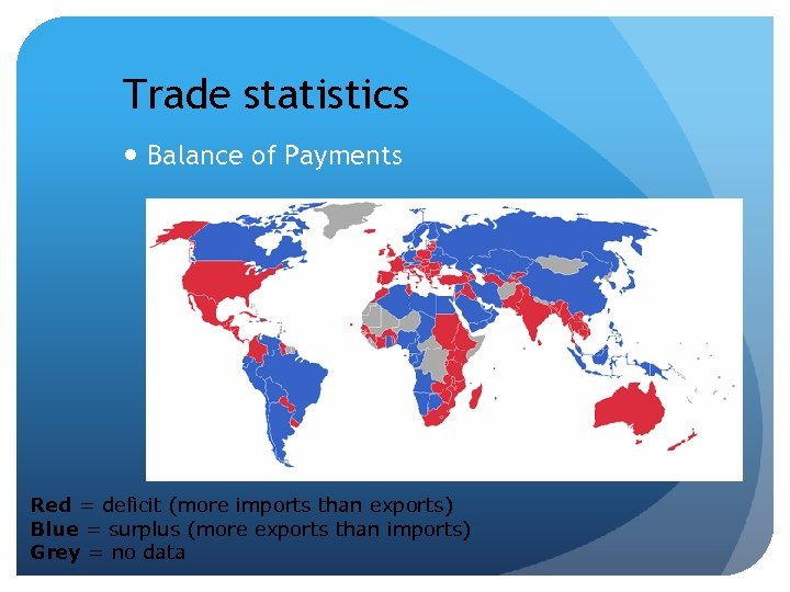 Trade statistics Balance of Payments Red = deficit (more imports than exports) Blue =